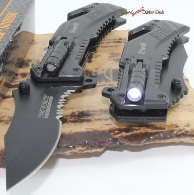 TAC-FORCE Sheriff Black Rescue LED Light Bowie Style Spring Assisted Knife