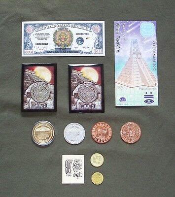 """I survived the Mayan apocalypse"" coin & note set. Aztec calendar silver gold."