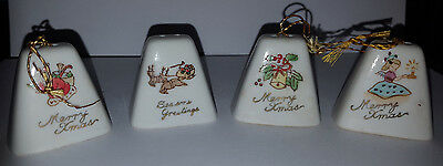 Vintage Porcelain Mini Christmas Bell Ornaments Lot of 4 Made in Japan