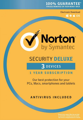 Norton Security Deluxe 3 Device - 1 Year Latest 2019 | Download | Code Key Only