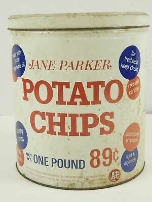 Vintage Jane Parker Potato Chip Tin Can One Pound 89 Cents A&P New York Red Blue