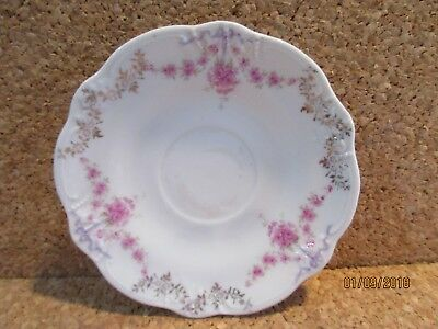 """Carl Tielsch & Co  Germany Saucer Pink & Gold swags raised sections 5 3/4"""""""