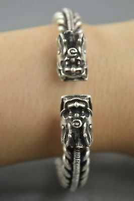 Collectable Handwork Old Miao SIlver Carve Roar Dragon Exorcism Usable Bracelet