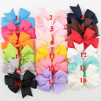 18 Pcs/Bag Hair Bows Kids Cloth Ribbons Boutique Lovely No Clips for Babys JB