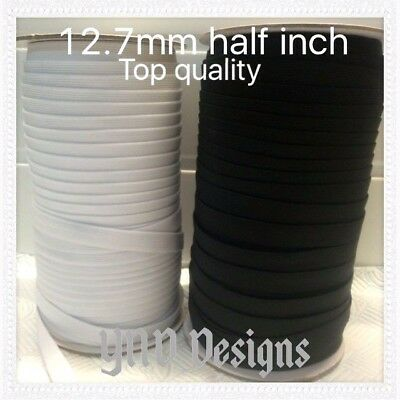 12.7mm GOOD QUALITY FLAT BLACK or WHITE elastic STRETCH  Woven band DRESSMAKING