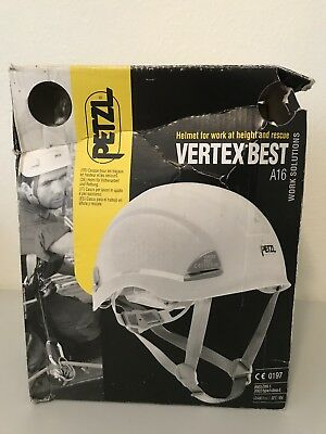 NIB-Petzl Vertex Best A16 White Safety Helmet for work at height and rescue.