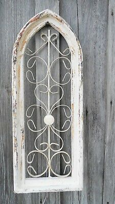 Wood / Wrought Iron Metal Antique Style Church WINDOW Rustic Primitive Handmade