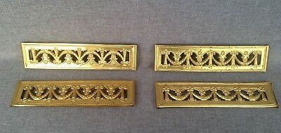 4 antique curtain clips brass repousse early 1900's France Louis XVI style