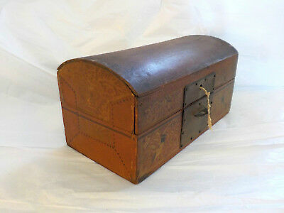 Japanese Antique Box Casket Coffer Domed Lid Red Lacquer Hand Painted