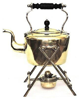 "Tea pot, Kettle on stand, Soutter, WS&S, solid brass, 13""t, Arts & Crafts, c1890"