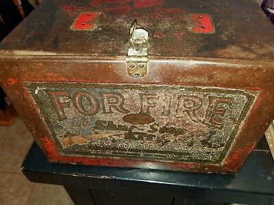 """Vintage """"SHUR-STOP KIT"""" 3 Glass FIRE GRENADES in Wall-Mounted METAL BOX! c.1933"""