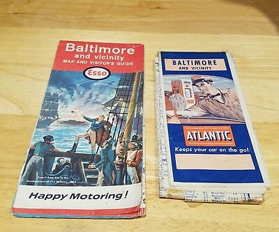 1964 Esso and Atlantic Baltimore and Vicinity Vintage Road Map