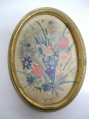 """Antique 4.25"""" X 5.75"""" Oval Solid Brass Picture Frame with Beaded Rim"""