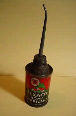 TEXACO HOME LUBRICANT Antique TIN SPOUT OIL CAN