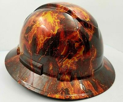 FULL BRIM Hard Hat custom hydro dipped , NEW HOT HEAD LAVA VOLCANO FIRE NEW