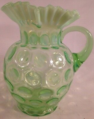Vintage Fenton Glass Lime Green Opalescent Coin Dot Spot Ruffled Water Pitcher
