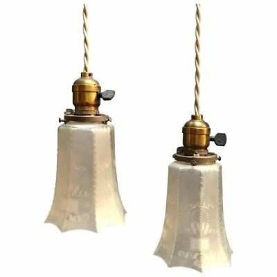 Pair of Industrial Faceted Frosted Glass Pendant Lights