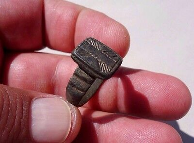 ancient late Roman ~ Byzantine bronze beautiful carved ring