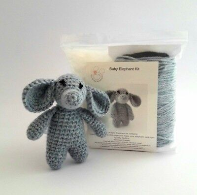 Crochet Kit Baby Elephant 100% wool & alpaca Mini Kit - Craft Birthday Mum Gift