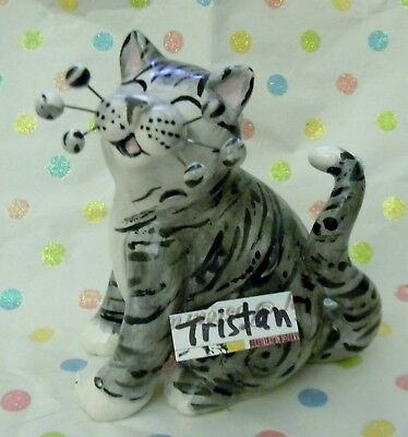 """Tristan"" grey WhimsiClay Tabby Cat"