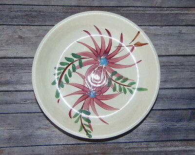 """Roseville R.R.P Rustic Wear 10 1/2 """" Hand Painted Round Floral Serving Bowl"""
