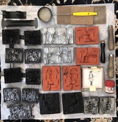 Lot of Toy Solider Lead Molds With Accessories