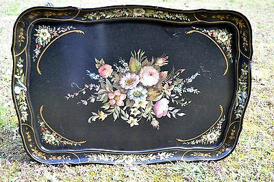 Vintage Tole Painted Table Black Floral French Provincial Hand Painted Flowers