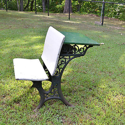 Antique Childrens School Desk Cast Iron and Wood Green White Painted Furniture