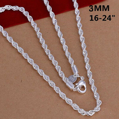 "16"" - 24"" Mens Womens 925 Sterling Silver 3mm Twisted Rope Chain Necklace #N151"