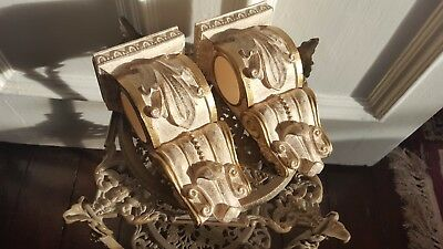 Pair of Decorative Corbel Renaissance Bohemian Vintage Gold Cream Brackets