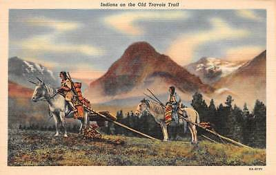 Indians On The Old Travois TrailVintage Post CardC012920