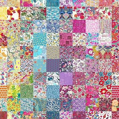 """50 different Liberty Lawn 2.5"""" Patchwork Charm Squares - 'LUCKY DIP' - Set 102"""