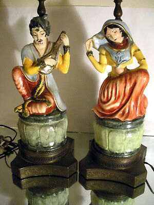 (2) Pair of Unique Antique Vintage Indian Arabic Figural Ceramic Brass Lamps