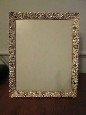 Picture Frame Vintage Ornate gold and white 8 x 10 metal frame hang or table top