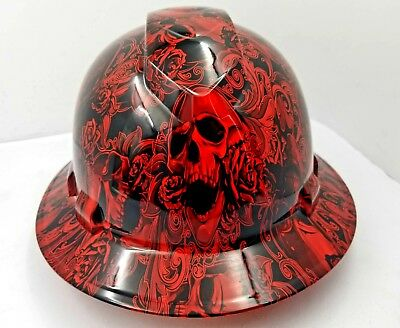 FULL BRIM Hard Hat custom hydro dipped , NEW RED SKULLS AND ROSES SEE STORE