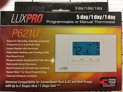 LuxPro Smart Temp Universal 5-1-1 Day Programmable Thermostat 2H//1C P621U
