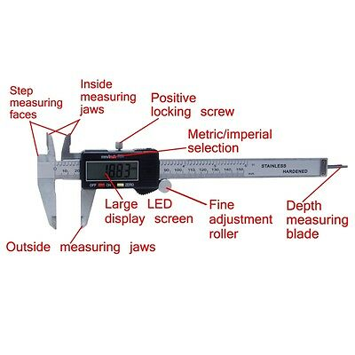 "Digital Electronic Gauge Plastic Steel Vernier Caliper 150mm 6"" Micrometer New"