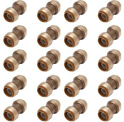 "Push-Fit 3/4"" Inch Push to Connect Fitting LF Coupling Bag of 100 pcs / Brass /"