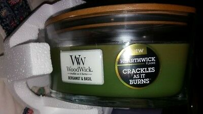 Massage Therapy Spa Special Woodwick Bergamot& Basil Candle  Hearthwick Flame