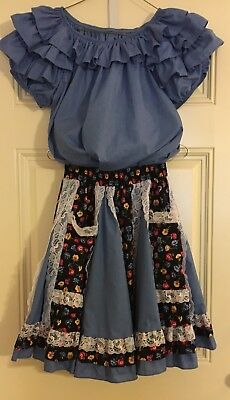 Vtg Square-Up Fashions Blue Square Dance 2 pc Dress SM Skirt Med Blouse Mens Tie