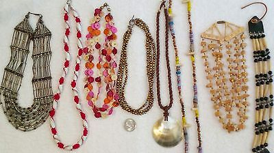Lot Of 8 Assorted Ethnic Tribal And Other Style Necklaces Choker