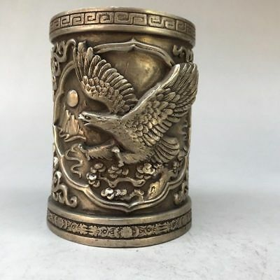 Pure copper brush pot in the ancient China Manual sculpture of an eagle statue