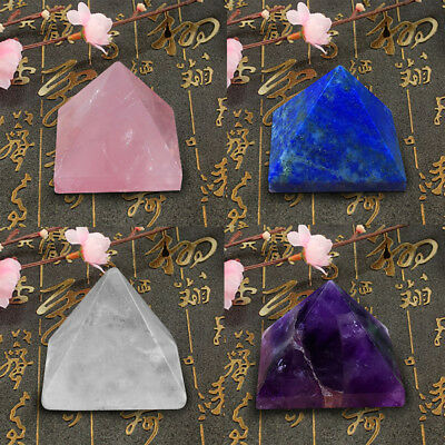 Amethyst Crystal Pyramid Egyptian Clear Stone Home Desk Decor Healing-Gifts 25mm