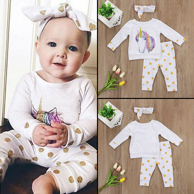 3PCS Unicorn Newborn Baby Girl Outfit Clothes Tops Leggings Pants Headband Set