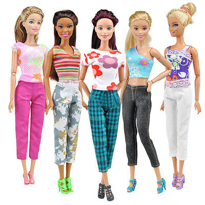 Lot 10pcs=5 Blouse&5 Trousers Fashion Casual Clothes Outfits For Barbie Doll Bra