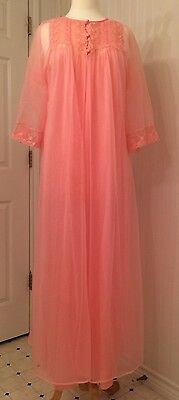 vintage negligee peignoir robe and gown, sheer, nylon, pink