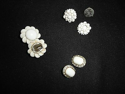 Antique white milk glass earrings Three sets included in sale