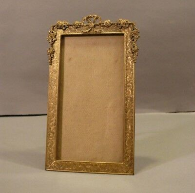 Antique French Baroque Style Solid Gilt Brass Table-Top Easel Frame USA Made