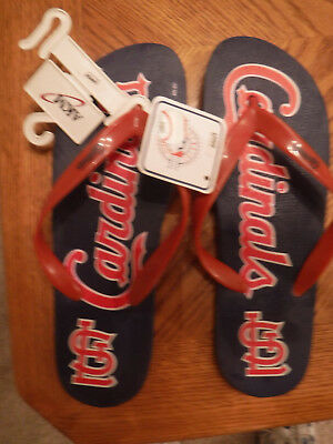 Pair of New St. Louis Cardinals Flip Flops, Size Large, Men's 9-10, with tags.