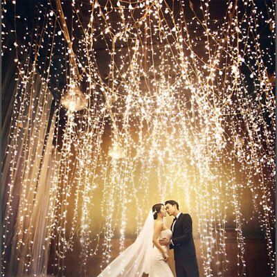 Waterfall 300/600LED Window Curtain Lights String Fairy Light Wedding Backdrops.